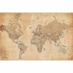 Home marketplace michael tompsett antique world map canvas art 22 generic vintage world map maps giant poster print college giant poster print publicscrutiny Choice Image
