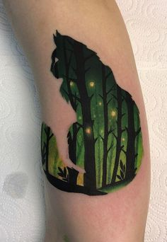 Daria Stahp Creates Vibrant Double-Exposure Tattoos - KickAss Things - cool double exposure forest cat tattoo © tattoo artist Daria Stahp ❤❤❤❤❤ Sie sind an der - Black Cat Tattoos, Animal Tattoos, Sexy Tattoos, Body Art Tattoos, Tattoos For Women, Tattoo Studio, Double Exposition, Cat Tattoo Designs, Forest Tattoos