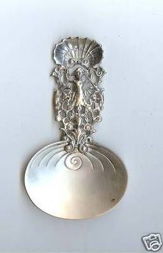 Antique Gorham sterling silver oyster spoon Shell top