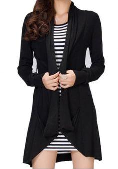Elegant Solid Color Long Sleeve Asymmetric Cardigan For Women