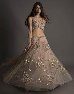 engagement lehenga, beach wedding, reception lehenga, lavender, light grey, wispy lehenga, bustier blouse, sparkly embroidery , small blouse, sheer layered lehenga