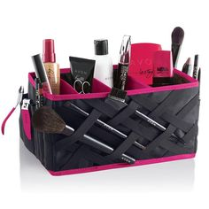 """Fill this cavernous open-top beauty organizer to the brim and keep counters clutter-free! Folds up for easy storage. 9 5/8"""" L x 5 5/8"""" W x 5 1/8"""" H. Polyester, PVC. - Handy outside pockets - 3 removable inside organizational dividers - Lattice-design elastic straps for brushes Contents not included"""