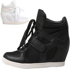 Women Velcro Hidden Wedge Heels Trainers Sneakers Mesh Hightop Shoes Ankle Boots   eBay