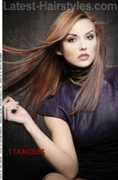 Warm Light Brown Haircolor with Pops of Blue Violet
