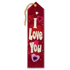 """Pack of 6 Red """"I Love You"""" Jeweled Valentine's Day and Wedding Ribbon Bookmarks 8"""