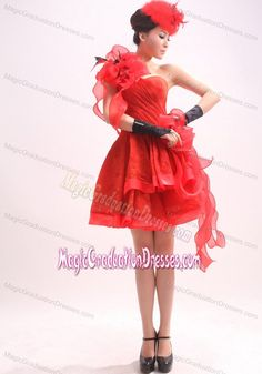 Red One Shoulder Organza Graduation Dress with Hand Flowers in Rome