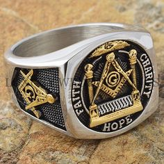 Men Masonic Ring Square G & Pillars Freemason Master Mason Gold Tone Size 9-13 in Jewelry & Watches, Men's Jewelry, Rings | eBay