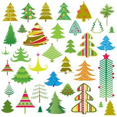 Cartoon Christmas trees vector. Collection of 40+ vector cartoon styled Christmas trees (fir tree) for your Xmas holiday graphic designs. Format: Ai/Tif stock vector clip art. Free for download. Theme: vector trees, Christmas tree, xmas elements.