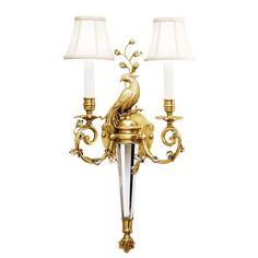 Brass Peacock 2 Lights Wall Sconces With Fabric Shades
