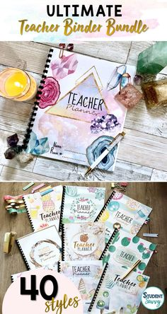 Design the perfect teacher binders and planners with 40 fabulous covers! Just click and start typing! Both Editable PowerPoint files and ready-to-go PDF files included! 6th Grade Activities, Teaching Activities, Teaching Ideas, Teacher Tools, Teacher Resources, Teacher Organization, Teacher Stuff, Lesson Planner, Teacher Planner