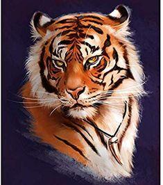 Tiger by Yana Kot on ArtStation. Tiger Artwork, Tiger Painting, Big Cats Art, Cat Art, Animal Sketches, Animal Drawings, Tiger Pictures, Tiger Drawing, Cross Stitch Art