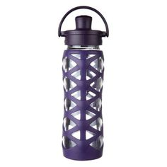 22 oz Glass Water Bottle with Active Flip Cap and Silicone Sleeve, Aubergine