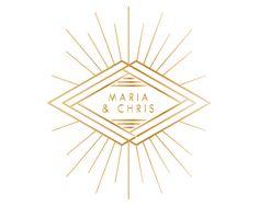 Gold Geometric Starburst Wedding Logo with Art Deco Diamonds by JuneMangoDesign on Etsy https://www.etsy.com/listing/223890107/gold-geometric-starburst-wedding-logo