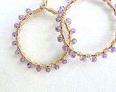 Wire Wrapped Jewelry Handmade Bohemian Hoop Earrings Amethyst Bohemian