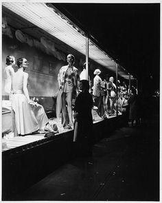 Store Window Display, Nighttime, Jordan Marsh, Washington Street, Women's Clothing Display by MIT-Libraries