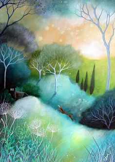 Inspired to paint this painting from nearby hills and fields and by the local folklore. I used these colours to portray the light of dawn and dusk on a Spring day.