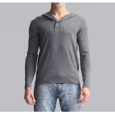 Autumn Mens Casual Knit Hooded V-neck Pullover Bottoming Solid Color Hedging…