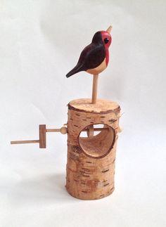 Robin on a log automata by LisaSlaterAutomata on Etsy, £50.00