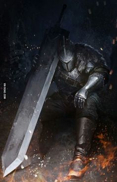 Knight with Ultra Greatsword (Dark Souls) - ? Fantasy Armor, Dark Fantasy Art, Medieval Fantasy, Medieval Knight, Dark Souls Greatsword, Fantasy Character Design, Character Art, Character Concept, Character Illustration