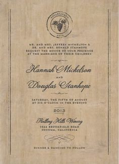 Winery themed wedding invite, I like how they incorporated the location with a picture, and the font and old-time look