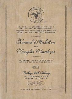 Cork wine themed letterpress wedding invitation from Plum Blossom ...