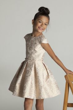 Contemporary and chic, our Imperial Ballerina Dress has become a wardrobe staple! This textured imperial jacquard print shimmers with floral metallic rose gold hues on a ivory base. The full inverted Little Girl Fashion, Little Girl Dresses, Kids Fashion, Girls Dresses, Flower Girl Dresses, Girls Party Dress, Baby Dress, Dress Girl, Ballerina Dress