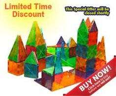 Magna-Tiles attract on all sides, even when flipped around. Children explore geometric shapes, symmetry, and other basic math concepts with these colorful pieces. Includes 50 small squares, 4 large squares, 15 isosceles trianges, 11 right triangles and 20 equilateral triangles. Price: $120.00  FREE Shipping.