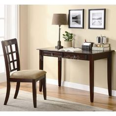 2pc Home Office Writing Desk and Chair in Brown Finish -- Check out the image by visiting the link.Note:It is affiliate link to Amazon.