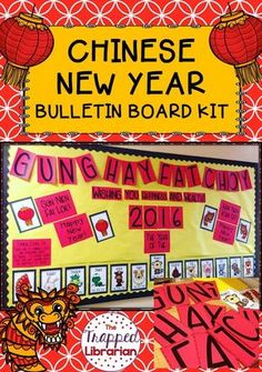 Chinese New Year Bulletin Board from The Trapped Librarian: Low prep! Brighten your classroom or library with this fun display of the Chinese Zodiac and Happy New Year greetings in Chinese!