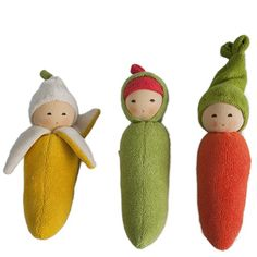 Fruit & Veggie Rattles made in Germany. Adorable! Organic Waldorf Baby Toys from Bella Luna Toys.