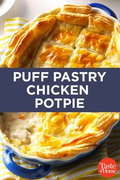 Puff Pastry Chicken Potpie - - When my wife is craving comfort food, I whip up this chicken pot pie with puff pastry. It's easy to make, sticks to your ribs and delivers soul-satisfying flavor. Turkey Recipes, Chicken Recipes, Recipes Dinner, Chicken Pot Pies, Chicken Pot Pie Casserole, Butter Chicken, Garlic Butter, Casserole Dishes, Drink Recipes