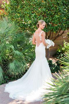 Sheer illusion back wedding dress via Elyse Hall - Deer Pearl Flowers / http://www.deerpearlflowers.com/wedding-dress-inspiration/sheer-illusion-back-wedding-dress-via-elyse-hall/