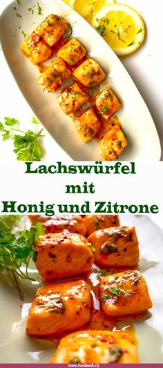 Spicy salmon cubes with honey and lemon- Würzige Lachs Würfel mit Honig und Zitrone The aroma is just crazy! The salmon with the … - Honey Salmon, Spicy Salmon, Lemon Salmon, Lemon Recipes, Fish Recipes, Shrimp Recipes, Snacks Recipes, Paleo Dinner, Dinner Recipes