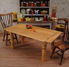 Rustic Plank Top Farmhouse Table 1 Inch Scale Miniature Dollhouse Furniture