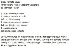 Zippy Tomato Sauce  for Louisiana Rice & Eggplant Casserole by Kathleen Ruzich