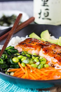 The teriyaki salmon bowl gets an extra punch of asian flavor from the strips of nori. nori (edible seaweed- sushi is usually wrapped in nori) come in small Healthy Weeknight Meals, Easy Healthy Recipes, Healthy Food, Teriyaki Glazed Salmon, Teriyaki Sauce, Seafood Recipes, Dinner Recipes, Cooking Recipes, Sushi Recipes