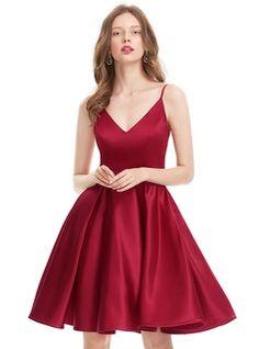 A-Line/Princess V-neck Knee-Length Satin Homecoming Dress (022127941)