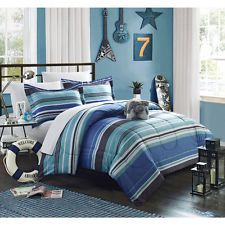 Full Size Bed in a Bag Blue Stripe Comforter Sheet Set Bedroom Bedding Boys New