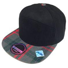 Plaid Checker Suede Snapback Cap Adjustable Baseball Cap FlatBill Hat Black  Grey 99c3a7874294