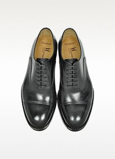 Cardiff Black Genuine Leather Goodyear Oxford Shoe - Moreschi
