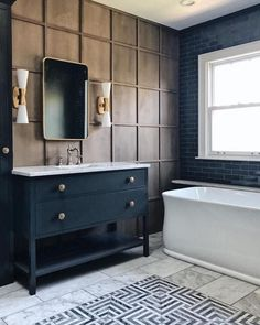 Jean Stoffer Design bathroom wall grid molding panelling dark navy black vanity (go to her IG to see the light fixture over the tub) Bathroom Colors, White Bathroom, Bathroom Wall, Small Bathroom, Bathroom Canvas, Black Vanity Bathroom, Master Bathrooms, Bathroom Cabinets, Bathroom Fixtures