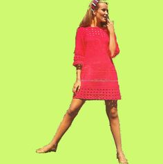 Crochet Dress 1970s Vintage Pattern - PDF by email    An iconic early seventies flared A-line mini dress.    It is quite daring ;) as a good chunk of