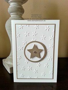 Stampin' Up! Sternenkarte / Weihnachtskarte mit der Big Shot und Prägeform Glückssterne in Taupe und Flüsterweiss gebastelt.