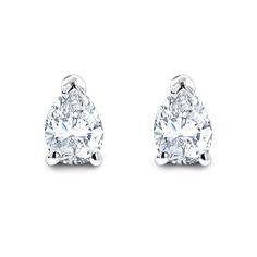 Pear Shape Diamond Stud Earrings 3/4 Carat 14k Gold 3 Prong Setting
