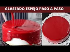 Glaseado espejo rojo   Receta paso a paso. - YouTube Food Cakes, Mirror Glaze Cake, Cake Shapes, Flan, Frosting, Panna Cotta, Cake Recipes, Deserts, Pudding