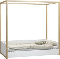 Proste łóżko jednooosobowe z baldachimem, możliwość wyboru wysokości montazu materaca lub szuflady   Łóżko 1-osobowe z baldachimem (Biały/dąb) - Łóżka i kanapy - Typy mebli - Meble VOX
