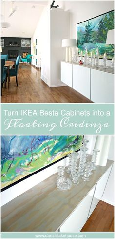 "How to Turn Ikea Besta Cabinets into a Floating Credenza - or ""Fauxdenza - with a Pretty Plywood Top // Ikea Hack // DIY Credenza (www.danslelakehouse.com)"