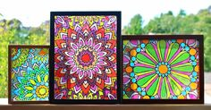 Faux stained glass mandalas appliances home decor kitchen design painting w Mandala Artwork, Mandalas Painting, Mandalas Drawing, Faux Stained Glass, Stained Glass Windows, Window Glass, Fused Glass, Stained Glass Frames, Window Paint