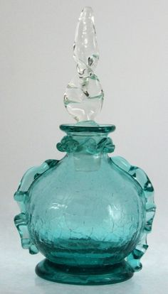 VINTAGE BLOWN CRACKLE GLASS PERFUME BOTTLE