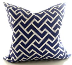 Geometric blue and white/  Decorative pillow cover/ 16 inch